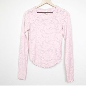 Free People Long Sleeve Burnout Tee Soft Pink XS
